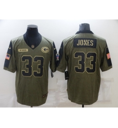 Men's Green Bay Packers #33 Aaron Jones Nike Olive 2021 Salute To Service Limited Player Jersey