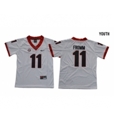 Georgia Bulldogs 11 Jake Fromm White Youth College Football Jersey