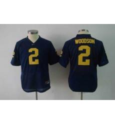 youth NCAA Michigan Wolverines 2 WOODSON blue football jerseys