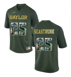 Baylor Bears #25 Lache Seastrunk Green With Portrait Print College Football Jersey3