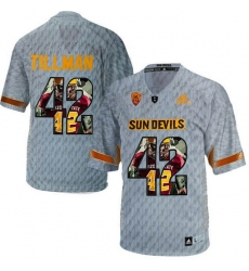 Arizona State Sun Devils #42 Pat Tillman Gray Team Logo Print College Football Jersey2