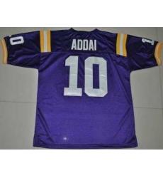 LSU Tigers #10 Joseph Addai Purple Embroidered NCAA Jersey
