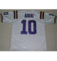 LSU Tigers #10 Joseph Addai White Embroidered NCAA Jersey