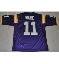 LSU Tigers #11 Spencer Ware Purple Embroidered NCAA Jersey