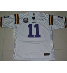 LSU Tigers #11 Spencer Ware White 2012 BCS Championship Patch Embroidered NCAA Jersey