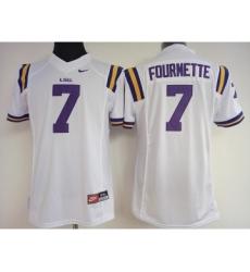 LSU Tigers 7 Leonard Fournette White College Football Jersey