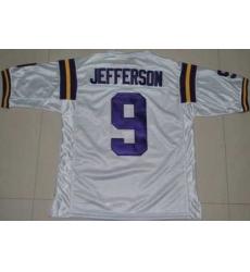 LSU Tigers #9 Jordan Jefferson White Embroidered NCAA Jersey