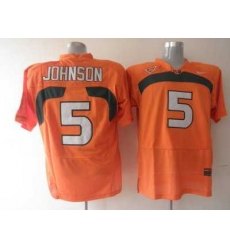 Hurricanes #5 Andre Johnson Orange Embroidered NCAA Jerseys