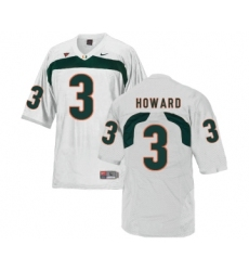 Miami Hurricanes 3 Tracy Howard White College Football Jersey
