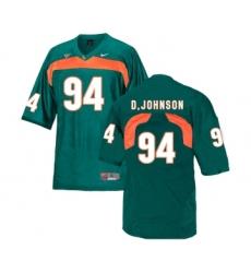 Miami Hurricanes 94 Dwayne Johnson Green College Football Jersey