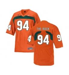 Miami Hurricanes 94 The Rock Orange College Football Jersey