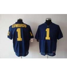 Wolverines Braylon Edwards #1 Blue Embroidered NCAA Jersey