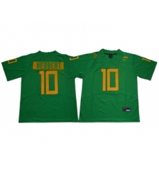 Ducks #10 Justin Herbert Green Limited Stitched NCAA Jersey