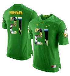 Oregon Ducks #21 Royce Freeman Apple Green With Portrait Print College Football Jersey2