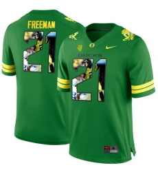 Oregon Ducks #21 Royce Freeman Apple Green With Portrait Print College Football Jersey