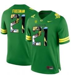 Oregon Ducks #21 Royce Freeman Apple Green With Portrait Print College Football Jersey