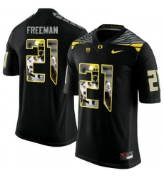 Oregon Ducks #21 Royce Freeman Black With Portrait Print College Football Jersey