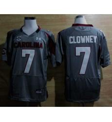 Under Armour South Carolina Javedeon Clowney 7 New SEC Patch NCAA Football - Grey