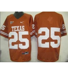 Longhorns #25 Orange Embroidered NCAA Jersey