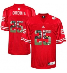 Wisconsin Badgers #25 Melvin Gordon III Red With Portrait Print College Football Jersey2