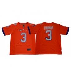 Clemson Tigers 3 Xavier Thomas Orange College Football Jersey