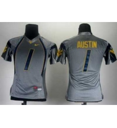 Women Nike West Virginia Mountaineers 1 Tavon Austin Grey College Football NCAA Jerseys