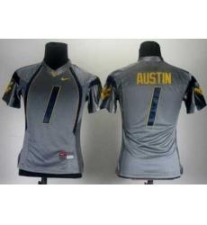 Women Nike West Virginia Mountaineers 1 Tavon Austin Grey College Football NCAA Jerseys