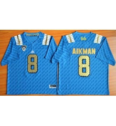 UCLA Bruins #8 Troy Aikman Blue PAC-12 Patch Stitched NCAA Jersey