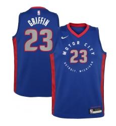Youth Detroit Pistons #23 Blake Griffin Nike Blue 2020-21 Swingman Jersey
