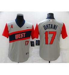 Men's Los Angeles Angels #17 Shohei Ohtani Gray Throwback Baseball Jersey