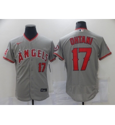 Men's Los Angeles Angels of Anaheim #17 Shohei Ohtani Grey Road Flex Base Authentic Collection Jersey