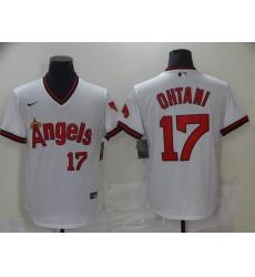 Men's Nike Los Angeles Angels #17 Shohei Ohtani White Throwback Baseball Jersey