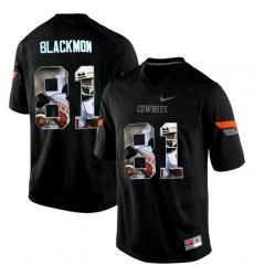 Oklahoma State Cowboys #81 Justin Blackmon Black With Portrait Print College Football Jersey