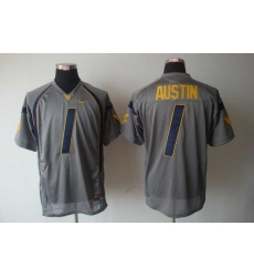 NCAA West Virginia Mountaineers Tavon Austin 1 Grey College Football Jersey