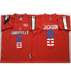 Louisville Cardinals #8 Lamar Jackson Red USA Flag College Jersey