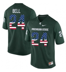 Michigan State Spartans #24 Le'Veon Bell Green USA Flag College Football Jersey