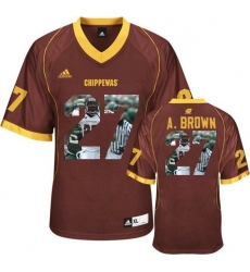 Central Michigan Chippewas #27 Antonio Brown Red With Portrait Print College Football Jersey3