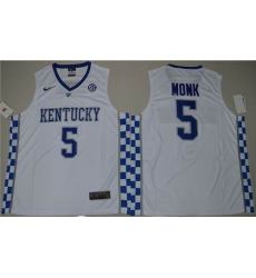 Kentucky Wildcats #5 Malik Monk White Basketball Elite Stitched NCAA Jersey