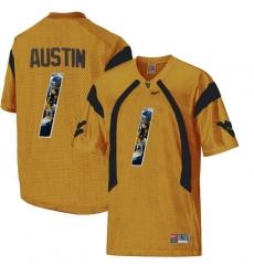 West Virginia Mountaineers #1 Tavon Austin Gold With Portrait Print College Football Jersey