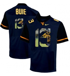 West Virginia Mountaineers #13 Andrew Buie Navy With Portrait Print College Football Jersey