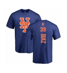 Baseball New York Mets #39 Edwin Diaz Royal Blue Backer T-Shirt