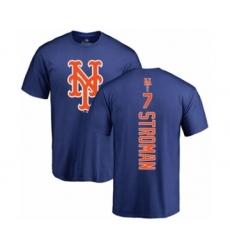 Baseball New York Mets #7 Marcus Stroman Royal Blue Backer T-Shirt