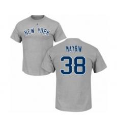 Baseball New York Yankees #38 Cameron Maybin Gray Name & Number T-Shirt