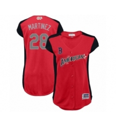 Women's Boston Red Sox #28 J. D. Martinez Authentic Red American League 2019 Baseball All-Star Jersey