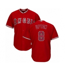 Men's Los Angeles Angels of Anaheim #8 Justin Upton Authentic Red Team Logo Fashion Cool Base Baseball Jersey
