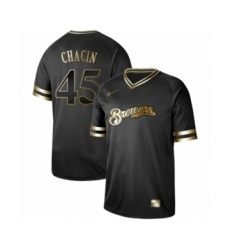 Men's Milwaukee Brewers #45 Jhoulys Chacin Authentic Black Gold Fashion Baseball Jersey