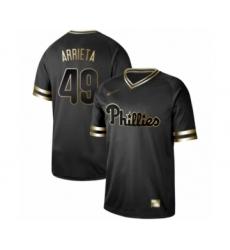Men's Philadelphia Phillies #49 Jake Arrieta Authentic Black Gold Fashion Baseball Jersey