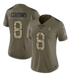 Women's Nike Minnesota Vikings #8 Kirk Cousins Limited Olive Camo 2017 Salute to Service NFL Jersey