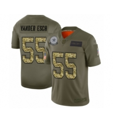 Men's Dallas Cowboys #55 Leighton Vander Esch 2019 Olive Camo Salute to Service Limited Jersey