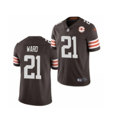 Men's Cleveland Browns #21 Denzel Ward 2021 Brown 75th Anniversary Patch Vapor Untouchable Limited Jersey